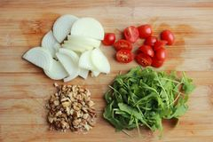 Raw chopped ingredients stock photography