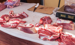 Raw chopped meat ready for sale Stock Photos