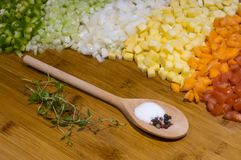 Vegetal soup ingredients. Raw chopped vegetables prepeared as ingredients for a soup Stock Images