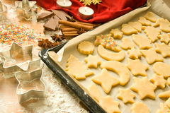 Raw Christmas cookies Stock Photos