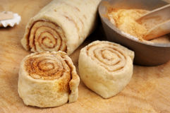 Raw cinnamon buns Stock Images