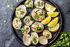 Raw clams with lemon, herbs on black iron plate. Fresh raw clams with lemon, herbs and white wine on black iron plate on stone slate background. Top view Stock Image