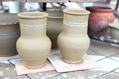 Raw clay pots at the fair Stock Images