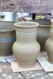 Raw clay pots at the fair Royalty Free Stock Photos