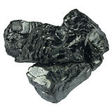 Raw coal isolated on white background Royalty Free Stock Photos