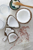 Raw coconut cracked open with coconut water, milk, oil and flakes beside it. Royalty Free Stock Photos