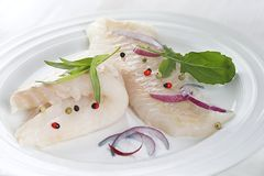 Raw cod filet. Ready to cook raw cod filet on a plate with fresh herbs stock photos