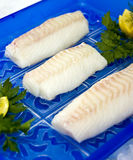 Raw cod fillet. Raw sea food - cod fish fillet with orange slices Stock Photo