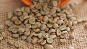 Raw coffee bean and cup on rotating display; closeup. HD 1080 static: Raw coffee beans with coffee cupon rotating display; closeup stock footage
