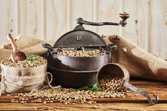 Raw coffee bean still life with roaster. Raw coffee bean still life with vintage cast iron roaster and burlap sack filled with beans and scoop spilling onto a stock photo