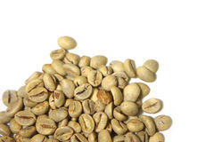 Raw Coffee Beans. Close up image of raw coffee beans isolated on white Stock Photography