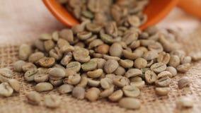 Raw coffee beans closeup. HD 1080 static: raw coffee beans on rotating display - closeup stock video
