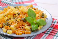 Raw colored pasta Stock Photography