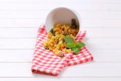 Raw colored pasta Stock Image