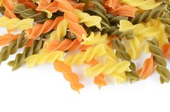 Raw colored pasta fusilli royalty free stock image