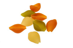 Raw colored pasta isolated on white background Royalty Free Stock Images