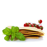 Raw colorful lasagna sheets. Over white Royalty Free Stock Images