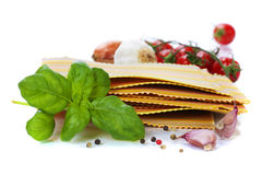 Raw colorful lasagna sheets. Over white Stock Photography