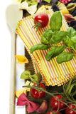 Raw colorful lasagna sheets. And pasta over white Stock Images