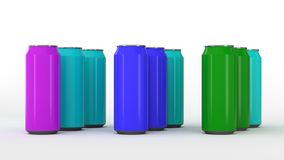 Raw of colorful soda cans vector illustration
