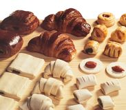Bakery, croissants and appetizers royalty free stock photos