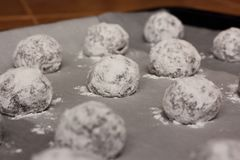 Raw cookie balls Stock Photos