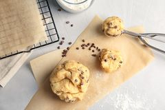 Raw cookie dough with chocolate chips on table. Top view Royalty Free Stock Photos