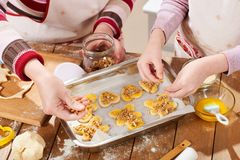 Raw cookies in baking tray, sweet food concept Royalty Free Stock Photo
