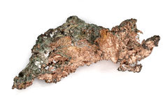 Raw Copper Nugget. Close-up of natural copper nugget with crystal impurities. Macro Stock Image