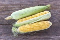 Raw corn cobs on wooden background. Raw corn cobs on old wooden background Stock Images
