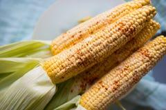Raw corn prepared for baking stock photo
