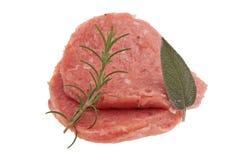 Isolated raw hamburger on white background stock photo