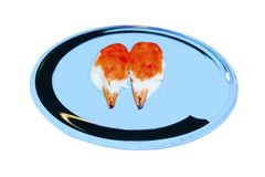 Raw crab on dish to creative for design and decoration isolate. On background.Copy space Stock Photos