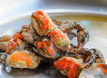Raw crab marinated in fish sauce, Thai cuisine. Fresh raw female crab marinated in fish sauce on stainless steel serving tray. Thai street food Stock Image