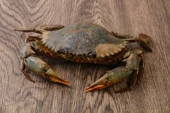 Raw crab. Over the wooden background ready for cooking Royalty Free Stock Photos
