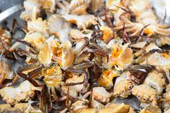 Raw crabs without shell for cooking. Deep fried Royalty Free Stock Photo