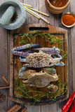 Raw crabs with spices Stock Photo