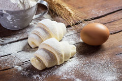 Raw croissants prepared for baking Stock Photography