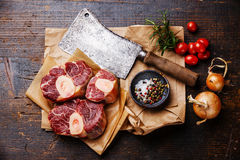 Raw cross cut veal shank for making Osso Buco Royalty Free Stock Images