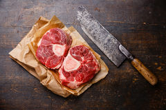 Raw cross cut veal shank for making Osso Buco Royalty Free Stock Photos