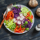 Raw crunchy colorful Coleslaw with red cabbage, radish, cucumber, sweet peppers, carrots, parsley and sesame seeds. Royalty Free Stock Photography