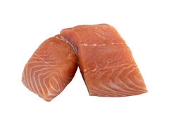 Raw Cut Salmon. Two Raw Cut Salmon Pieces Isolated on White Background Stock Photo