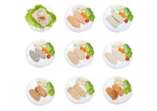 Raw cutlets and cabbage rolls Royalty Free Stock Photo
