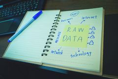 Raw data, Post it in the notebook paper with ink pen, education. Stock Images