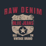 Raw denim graphic for t-shirt,tee design,vector illustration Royalty Free Stock Photography