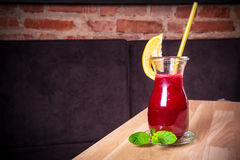 Raw detox beetroot and carrot juice. With lemon Stock Image