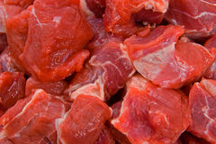 Raw Diced Beef. Close up image of raw diced beef for a casserole Royalty Free Stock Photography