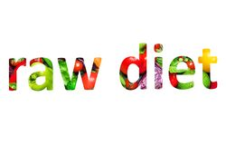 Raw diet, multi-colored text cut out of vegetables photo, the inscription on white background royalty free illustration