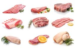 Raw different meat from lamb chicken beef and calf. Display royalty free stock photo