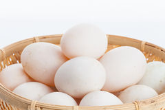 Raw dirty duck eggs in the bamboo bowl basket Royalty Free Stock Photography